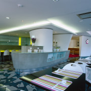 View of the dining area - View of ceiling, daylighting, interior design, lobby, restaurant, gray