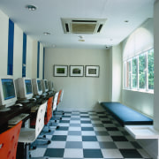 View of the internet area - View of ceiling, floor, interior design, room, gray