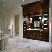 View of this bathroom - View of this cabinetry, countertop, cuisine classique, floor, flooring, furniture, interior design, kitchen, room, gray