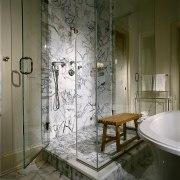 View of the shower unit - View of bathroom, glass, interior design, plumbing fixture, room, window, gray, brown