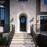 View of the entrance way - View of architecture, baluster, brick, building, door, estate, facade, handrail, home, house, iron, porch, real estate, residential area, stairs, structure, walkway, wall, window, black