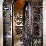 View of the entrance way - View of door, glass, iron, metal, window, black