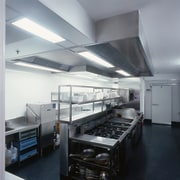 View of this hospitality kitchen - View of kitchen, gray, black