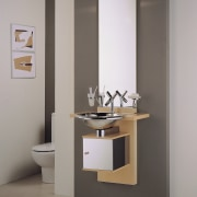 View of the vanity unit - View of bathroom, bathroom accessory, bathroom cabinet, bathroom sink, ceramic, plumbing fixture, product design, sink, tap, gray