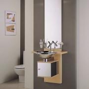 View of the vanity unit bathroom, bathroom accessory, bathroom cabinet, bathroom sink, ceramic, plumbing fixture, product design, sink, tap, gray