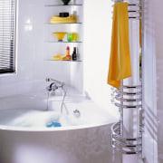View of this bathroom towel radiator from Zehnder bathroom, ceramic, floor, interior design, plumbing fixture, product design, room, sink, tap, tile, yellow, gray