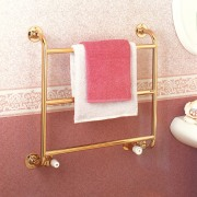 View of the traditional Gold Plate towel rail furniture, product, product design, red, white