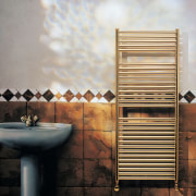 View of the towel warmer from Myson Inc wall, gray, black