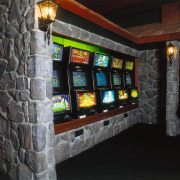 View of the gambling machines that are inset black