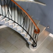 View of this stairway - View of this floor, flooring, furniture, handrail, iron, product design, stairs, table, gray