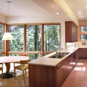 View of the kitchen area - View of estate, interior design, kitchen, real estate, window, white