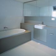 view of bathroom - view of bathroom - architecture, bathroom, floor, plumbing fixture, product design, property, room, sink, toilet seat, gray