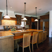 View of the kitchen's cooking area - View cabinetry, ceiling, countertop, cuisine classique, flooring, hardwood, interior design, kitchen, room, gray, black