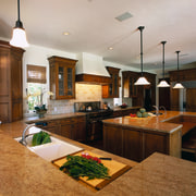 View of the kitchen area - View of countertop, interior design, kitchen, real estate, room, gray, brown