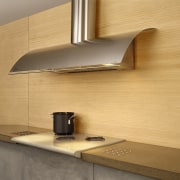 View of the rangehood - View of the angle, countertop, floor, furniture, light fixture, lighting, plywood, product design, shelf, tap, under cabinet lighting, wall, wood, orange