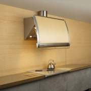 View of the rangehood - View of the cabinetry, countertop, floor, interior design, light fixture, lighting, plywood, product design, under cabinet lighting, wall, wood, orange, brown