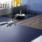 View of the countertop by Cosentino USA - countertop, floor, flooring, kitchen, product design, sink, tile, gray, blue
