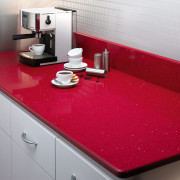 View of the countertop - View of the countertop, floor, flooring, interior design, kitchen, product, product design, red, sink, table, tap, tile, red, gray