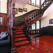View of staircase in this house - View architecture, building, flooring, interior design, stairs, wood, red, black