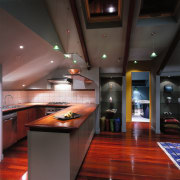 Interior view of kitchen area - Interior view cabinetry, ceiling, countertop, interior design, kitchen, lighting, room, under cabinet lighting, black, red