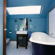 Interior view of the bathroom - Interior view architecture, bathroom, blue, ceiling, daylighting, interior design, product design, room, teal