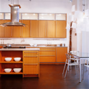View of the contemporary kitchen - View of cabinetry, countertop, cuisine classique, floor, flooring, furniture, hardwood, home, interior design, kitchen, room, table, wood, wood flooring, white, red