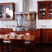 View of this fine looking kitchen - View cabinetry, countertop, cuisine classique, furniture, interior design, kitchen, room, red