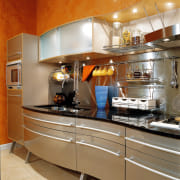 View of this contemporary kitchen - View of cabinetry, countertop, cuisine classique, interior design, kitchen, brown
