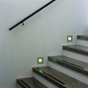 View of the stairway - View of the handrail, stairs, wall, gray