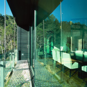 View of the dining area - View of architecture, glass, green, house, plant, tree, water, green, teal