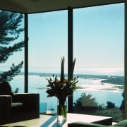View of this living area - View of home, interior design, sea, sky, window, white, black