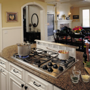 View of the kitchen area - View of countertop, home, kitchen, room, gray, brown