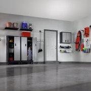 Inner view of the showroom - Inner view exhibition, floor, gray