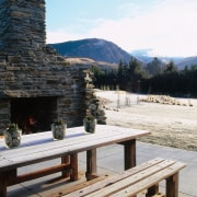 View of the outdoor living area - View mountain, white, black