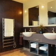 View of the bathroom - View of the bathroom, cabinetry, countertop, floor, flooring, home, interior design, room, wall, black