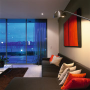 View of the living area - View of architecture, ceiling, interior design, lighting, living room, room, wall, window, black