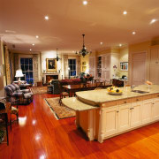 View of the kitchen, dining & living area, cabinetry, ceiling, countertop, estate, floor, flooring, hardwood, interior design, kitchen, laminate flooring, living room, real estate, room, wood, wood flooring, orange, brown
