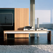 View of this bench as a showcase of coffee table, floor, furniture, interior design, product design, table, gray, black