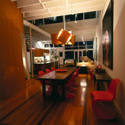 View of this living area - View of ceiling, flooring, furniture, interior design, loft, room, table, brown, red