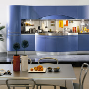 View of this modern kitchen - View of interior design, kitchen, product, product design, table, gray