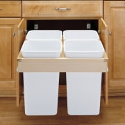 The waste disposal solution from Rev-a-shelf cabinet accessories cabinetry, countertop, drawer, floor, furniture, hardwood, product, product design, table, wood stain, brown, white