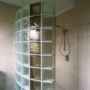 View of the shower - View of the bathroom, glass, plumbing fixture, room, shower, tile, wall, window, gray, brown
