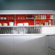 View of the unique cabinetry of this kitchen architecture, countertop, interior design, kitchen, product design, shelf, shelving, gray, black