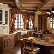 View of this traditional kitchen - View of cabinetry, dining room, furniture, interior design, kitchen, room, window, wood, brown
