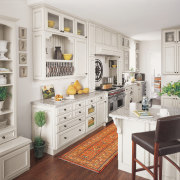 View of the kitchen area of this home cabinetry, countertop, cuisine classique, furniture, home, interior design, kitchen, room, shelving, white