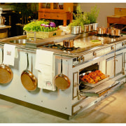 View of this kitchen island's appliances - View countertop, furniture, kitchen, kitchen appliance, kitchen stove, brown