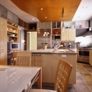 A contemporary kitchen & dining area - A cabinetry, ceiling, countertop, cuisine classique, interior design, kitchen, real estate, room, brown