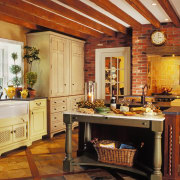 View of this traditional kitchen - View of cabinetry, countertop, cuisine classique, dining room, home, interior design, kitchen, room, brown, orange