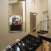 View of this stairway - View of this glass, handrail, product, stairs, orange, brown