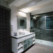 View of this master ensuite - View of bathroom, bathroom accessory, floor, glass, interior design, room, sink, gray, black